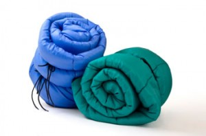 Two rolled up sleeping bags